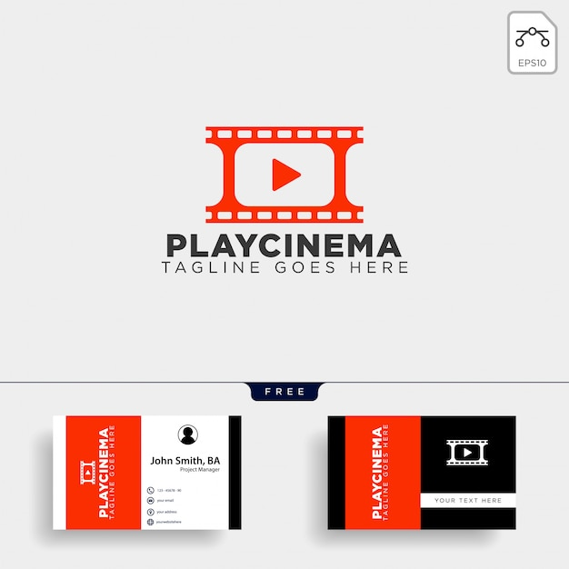 Play media cinema simple logo template