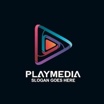 Воспроизведение медиа в красочном дизайне логотипа