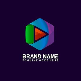 Воспроизвести медиа в векторном логотипе гексагональной формы