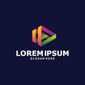 Шаблон логотипа красочный play media