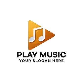 Шаблон логотипа play music gradient