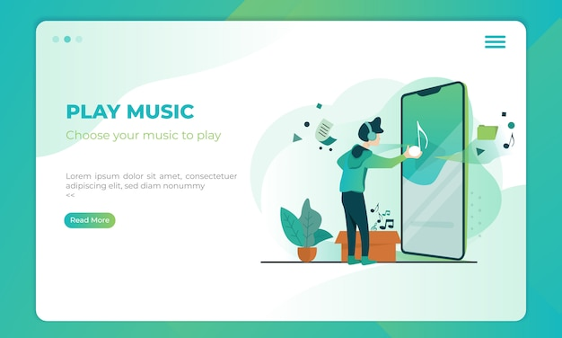 Play music illustration on landing page template
