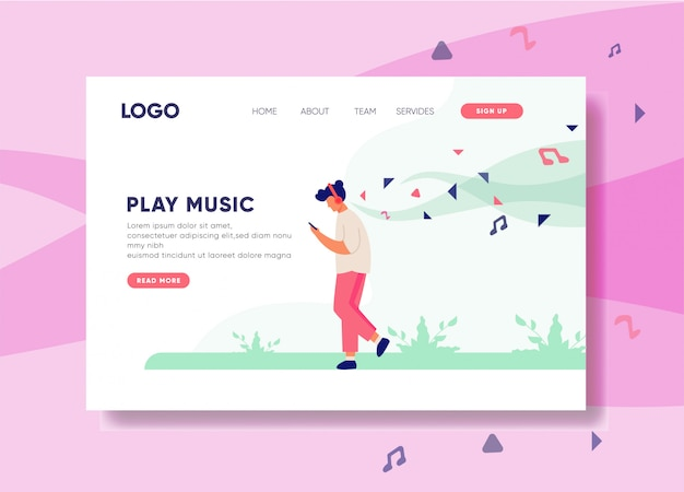 Play music illustration for landing page template