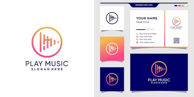 Play music logo initial letter m with line art style and circle concept and business card design premium vector