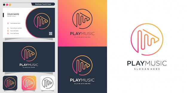 Play music logo with line art gradient style and business card design template, gradient, music, play, line art, simple,