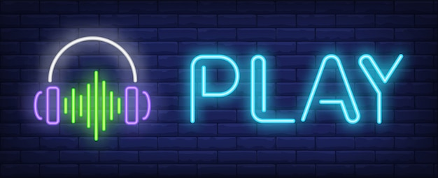 Play neon text with headphones and sound wave