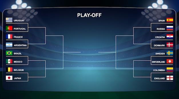 Футбольный кубок, турнирная таблица play off векторная иллюстрация