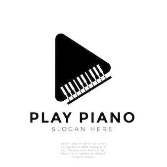 Play piano logo concept