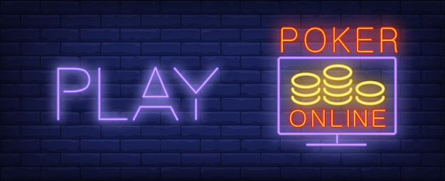 Play poker online in neon style. text, screen and chips on brick wall background