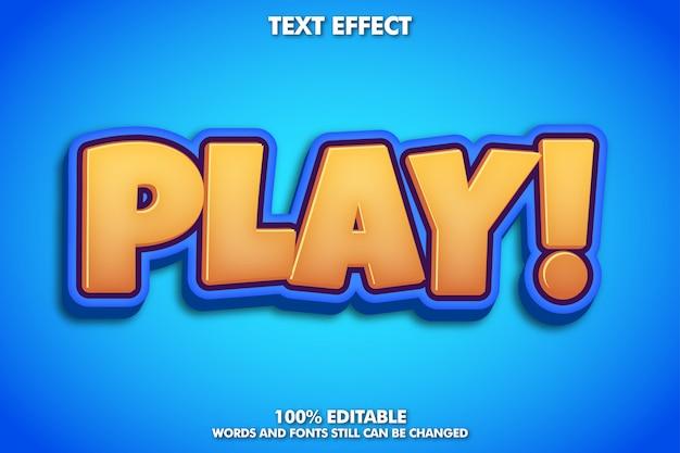 「play」パワフルな漫画テキスト効果、コミックテキストスタイル