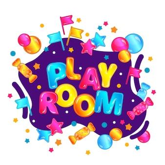 Игровая комната в ярком мультяшном стиле с неоновыми вкраплениями
