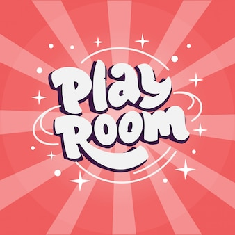 Play room. kids logo, with hand-drawn text, phrase.