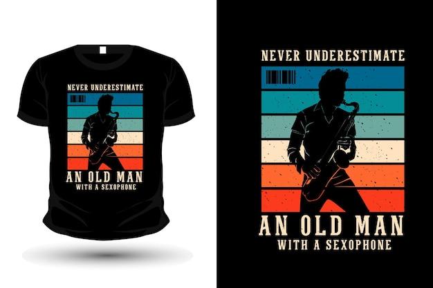 Play saxophone merchandise silhouette t shirt design retro style