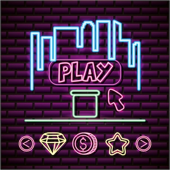 Play and skyline in neon style, video games related