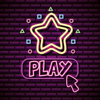 Play and stars in neon style, video games related