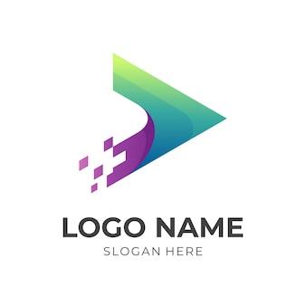 Логотип play tech, игра и пиксель, комбинированный логотип с трехмерным зеленым и фиолетовым цветовым стилем