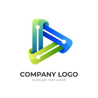 再生技術ロゴ、再生ボタンと技術、3dカラフルなスタイルの組み合わせロゴ