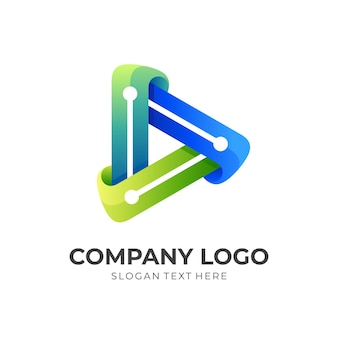 Play tech logo, play button and technology, combination logo with 3d colorful style