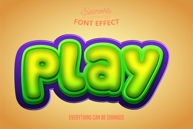 Play text, 3d green and purple editable font effect