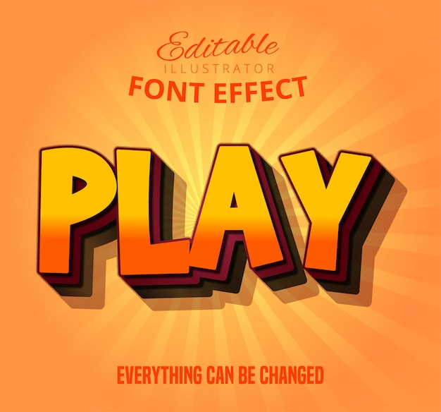Play text, editable font effect