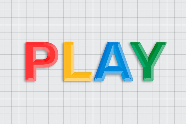 Play text with lettering bevel and colorful font typography