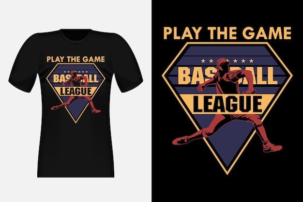 Играть в игру бейсбол силуэт старинный дизайн футболки