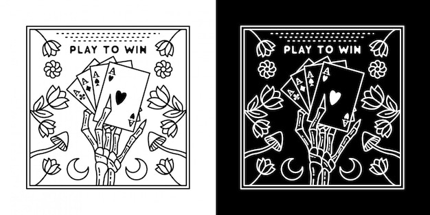 カードボードのモノラインデザインを獲得するためにプレイ