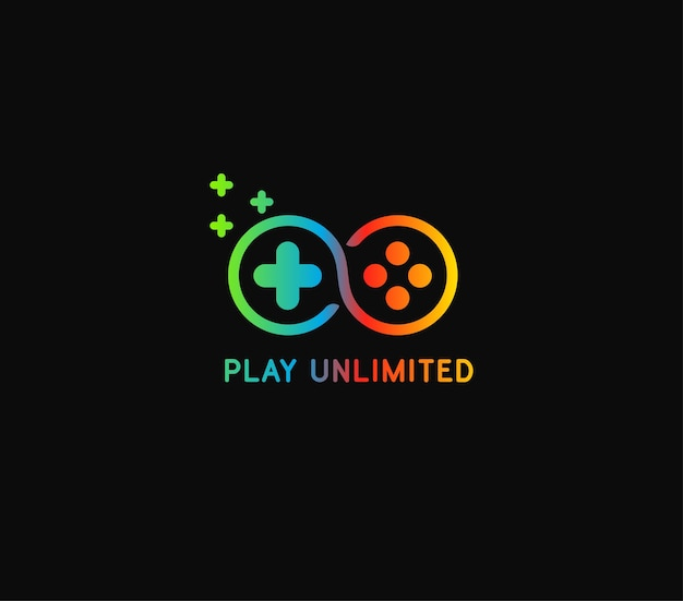 Play unlimited logo with 3 color gradient