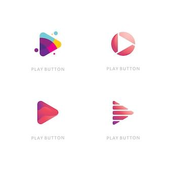 Play vector logo icon. video icon design template. music player