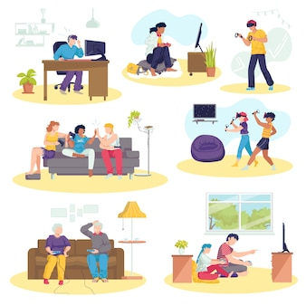 Play video games at home, leisure, gamers set of  illustrations. kids, eldery couple, friends playing joystick, at computer, console and vr glasses, tv controller. entertainment and gaming.