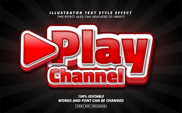 Play video text style effect mockup