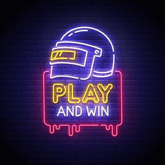 Gioca e vinci insegna al neon