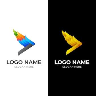 Логотип play wing, play и wing, комбинированный логотип с красочным 3d стилем