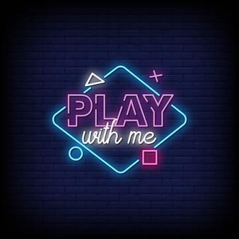 Play with meレンガの壁にネオン看板
