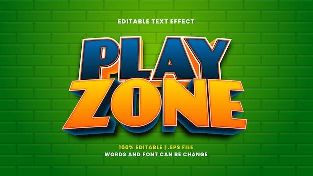 Редактируемый текстовый эффект игровой зоны в современном 3d стиле