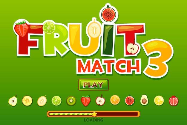 Фруктовый матч на фоне и фрукты иконки. кнопка play и загрузка игры