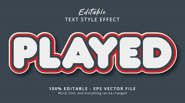 Played text on headline template, editable text effect