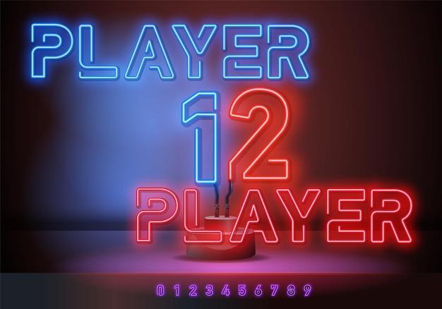 Игрок 2 и игрок 1 неоновая вывеска, яркая вывеска, световой баннер. игровой логотип неон, эмблема. векторная иллюстрация