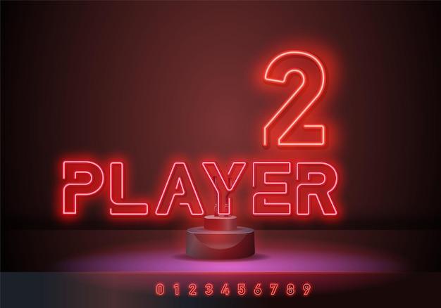 Игрок 2 неоновая вывеска, яркая вывеска, световой баннер. игровой логотип неон, эмблема. векторная иллюстрация