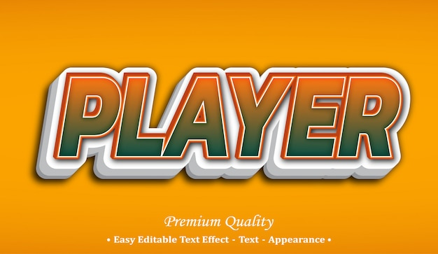 Player 3d font style effect