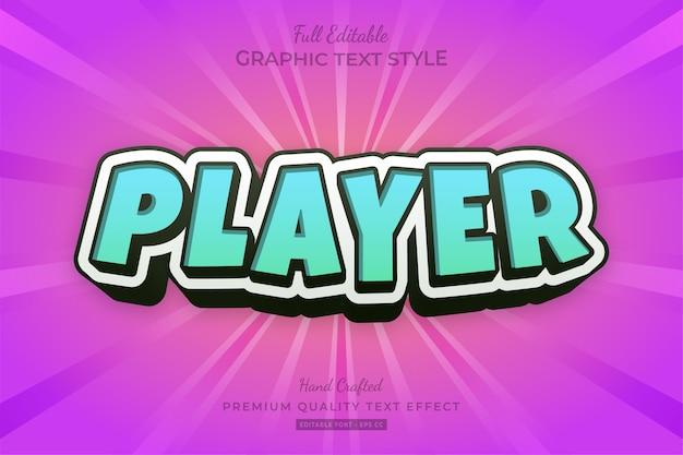 Player cartoon turquoise blue editable text effect font style