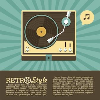 비닐 레코드 플레이어. 레트로 음악. 로고, 아이콘입니다.