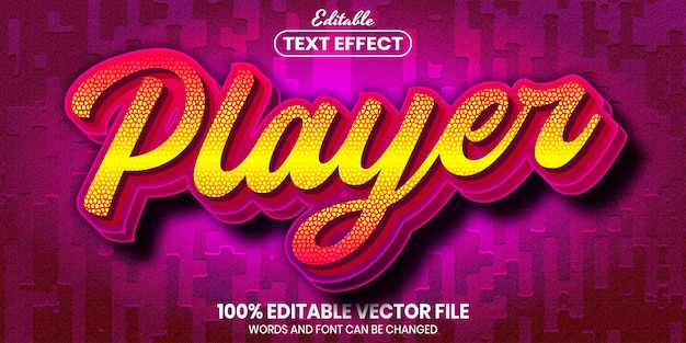 Player text, font style editable text effect