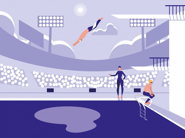 Players in pool for diving competition