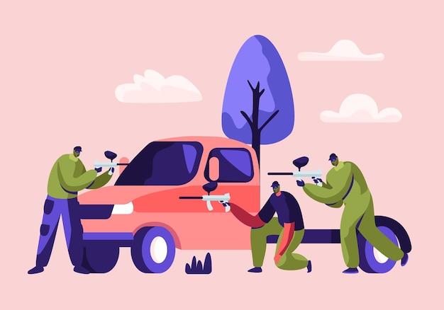 플레이어는 보호 유니폼 그림에서 반대 팀에 마커 총을 쏘고 마스크에 차 뒤에 앉아