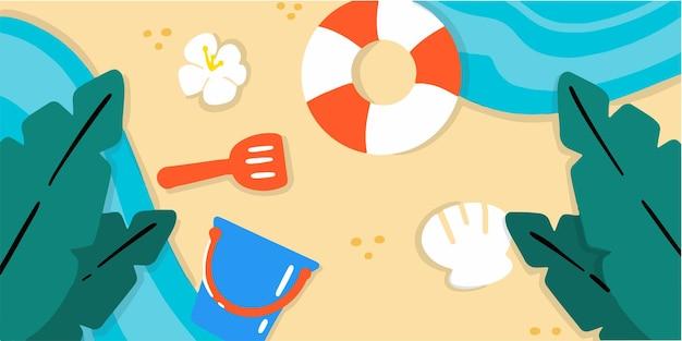 Игривый и веселый пляж на побережье каракули иллюстрации эксклюзивный