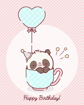 Playful baby panda bear cartoon in a cup premium vector