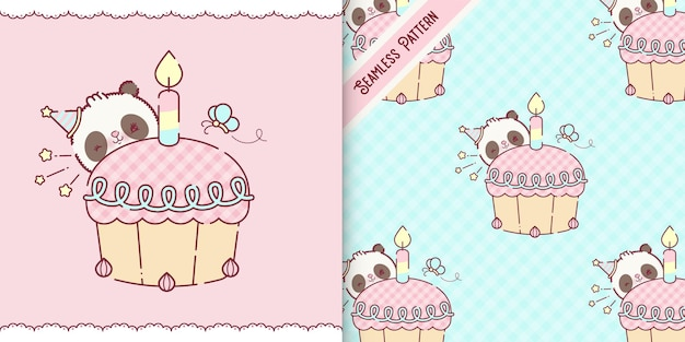 Playful baby panda bear cartoon premium vector