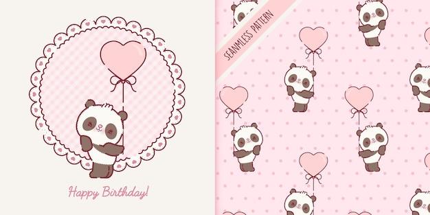 Playful baby panda bear cartoon and seamless pattern premium vector