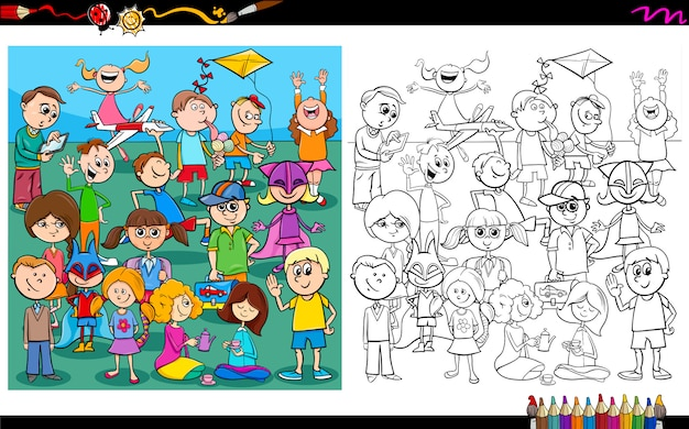 Playful children characters coloring book